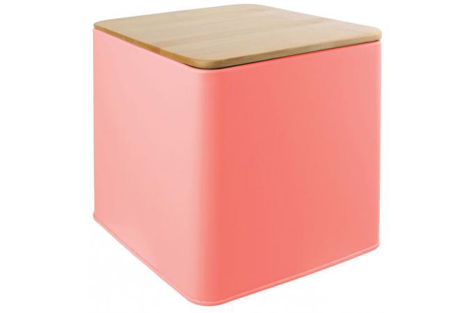 boite en m tal avec couvercle en bambou coloris corail l14cm irmine bo te de rangement pas cher. Black Bedroom Furniture Sets. Home Design Ideas