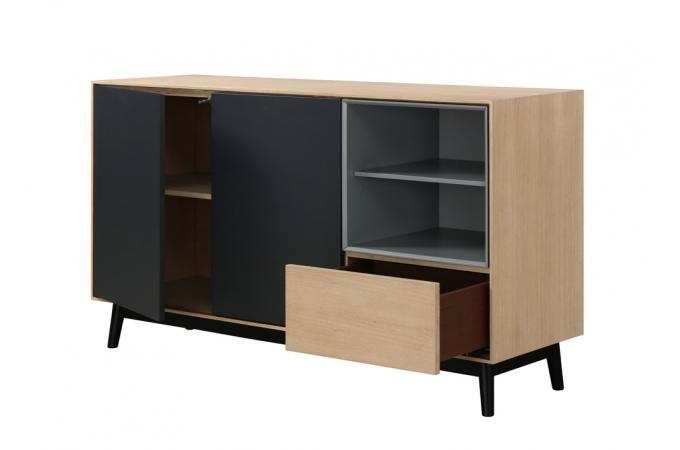 buffet bois noir 2 portes 2 niches 1 tiroir hourn buffet pas cher. Black Bedroom Furniture Sets. Home Design Ideas