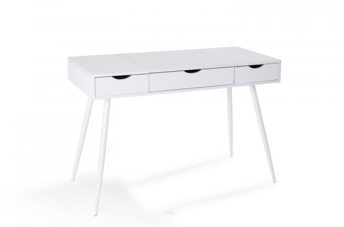 Bureau 3 tiroirs blanc sytar bureau pas cher