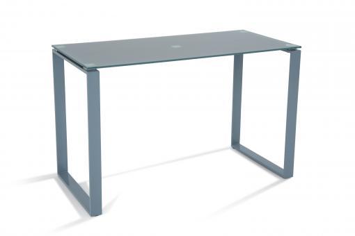 Bureau acier et verre gris 120cm hollyz bureau pas cher