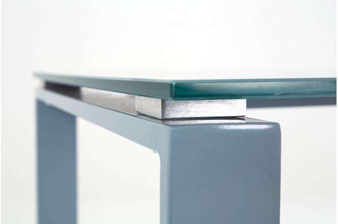 bureau acier et verre gris 160cm hollyz bureau pas cher. Black Bedroom Furniture Sets. Home Design Ideas