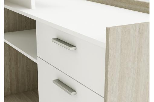 bureau d 39 angle 1 porte 2 niches ch ne et blanc lucille bureau pas cher. Black Bedroom Furniture Sets. Home Design Ideas