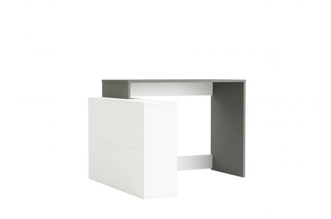 Bureau d angle blanc et gris lucille bureau pas cher