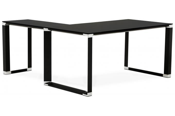 Bureau d angle en verre wallas noir bureau pas cher