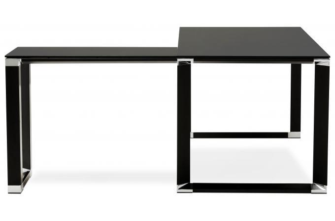 Bureau noir en verre snoop bureau droit plateau verre noir