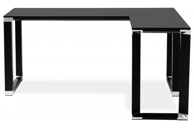 bureau d 39 angle en verre wallas noir bureau pas cher. Black Bedroom Furniture Sets. Home Design Ideas