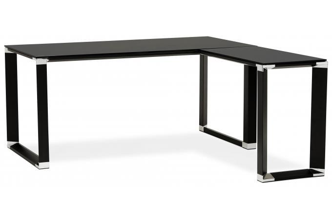 Bureau d 39 angle en verre wallas noir bureau pas cher - Bureau angle verre noir ...