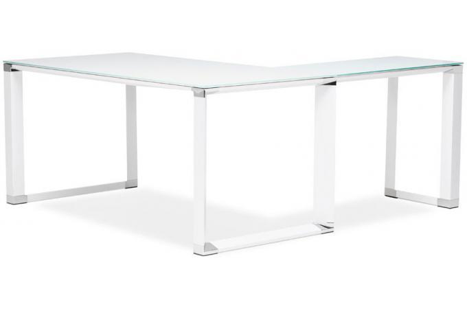 Bureau dangle en verre wallas blanc bureau pas cher