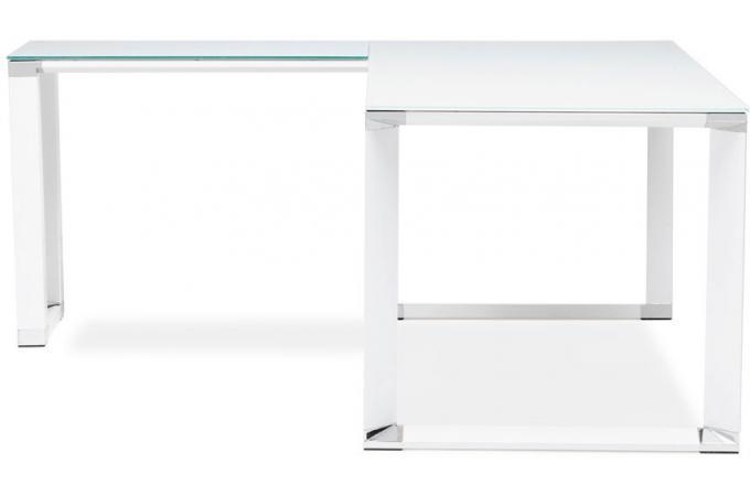 Bureau d angle en verre wallas blanc bureau pas cher