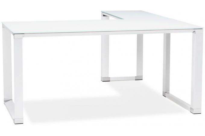 bureau d 39 angle en verre wallas blanc bureau pas cher. Black Bedroom Furniture Sets. Home Design Ideas