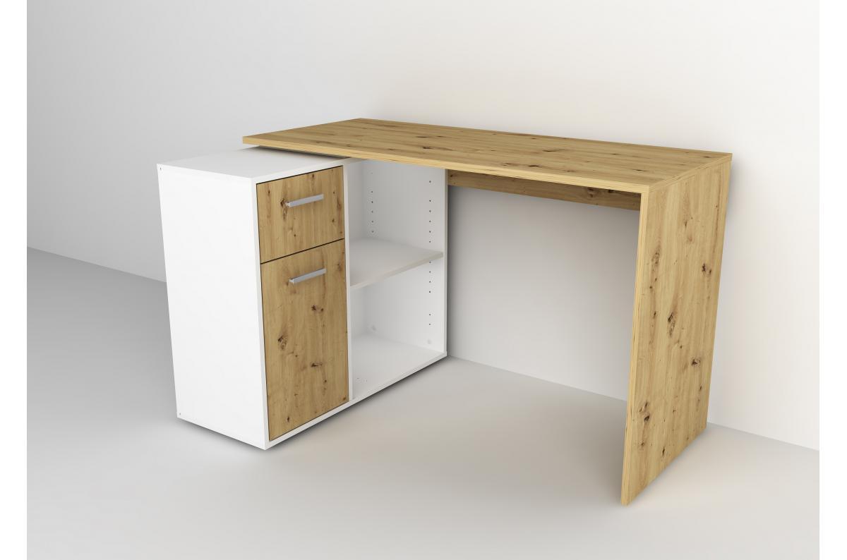 Bureau d 39 angle r versible bois clair et blanc leonceby Bureau d angle pas cher