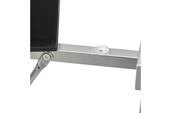 Bureau vintage plateau verre fumé noir pied métal