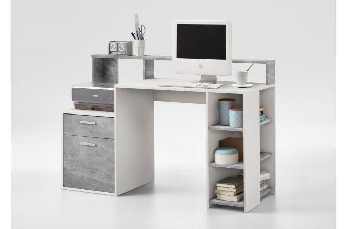 Bureau gris béton blanc blurn bureau pas cher