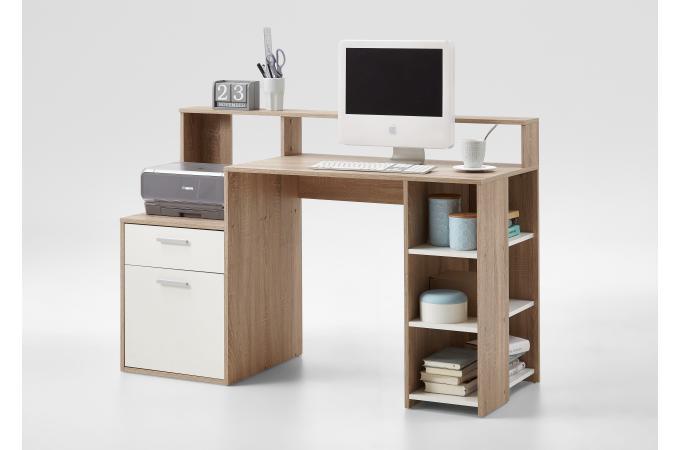Bureau marron bois blanc blurn bureau pas cher