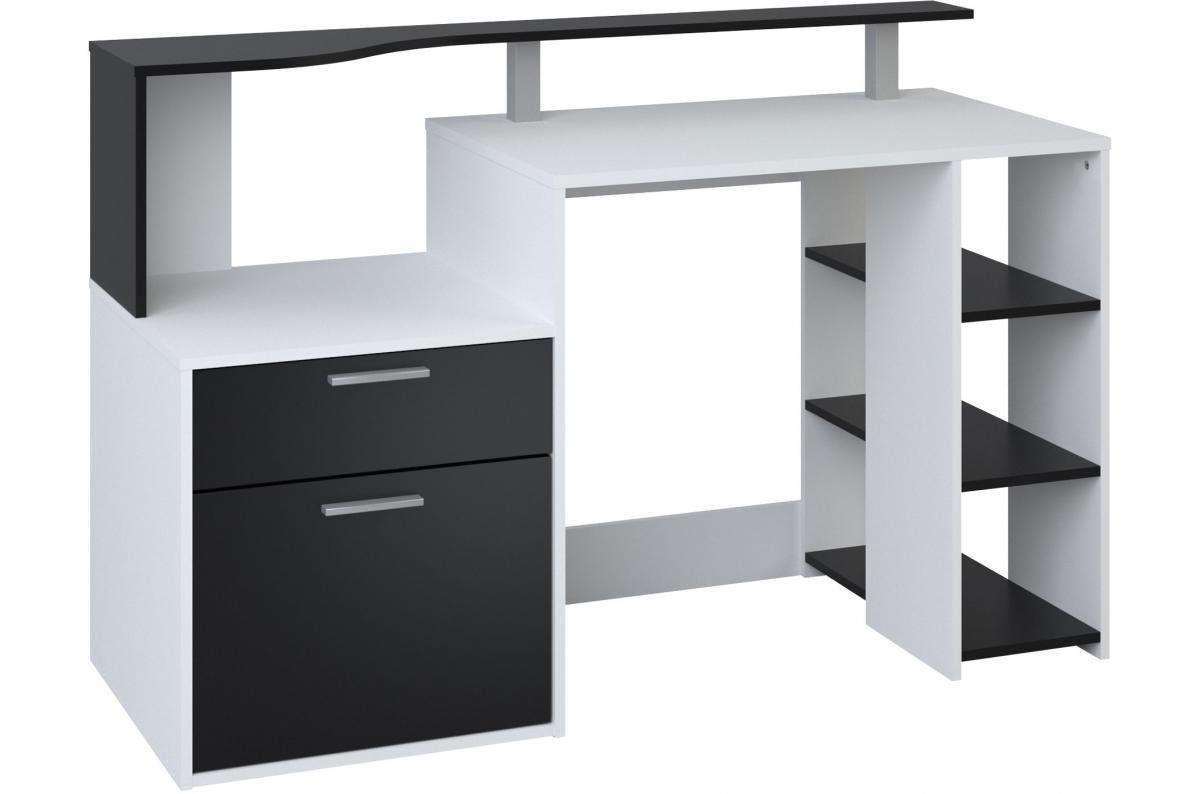 Bureau 3 Etageres Et Caisson De Rangement Coloris Blanc Et Noir