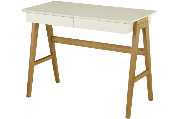 bureau scandinave 2 tiroirs blanc laika bureau pas cher. Black Bedroom Furniture Sets. Home Design Ideas