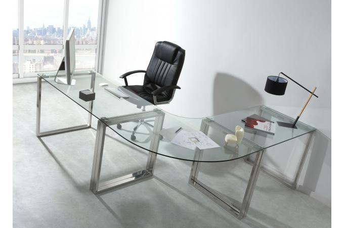 Bureau verre et métal 130x75cm wisconsin bureau pas cher