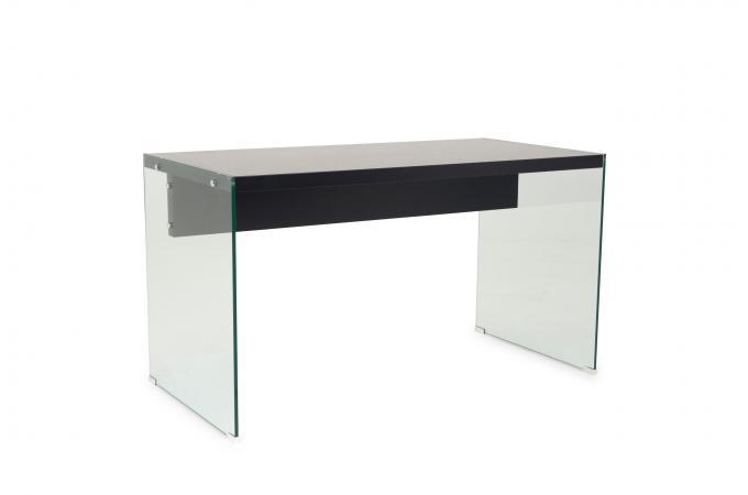 Bureau verre transparent et noir rubbers bureau pas cher