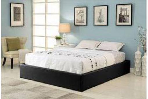 Cadre de lit coffre 140x190 noir avec sommier ilao lit - Sommier 140x190 a monter ...