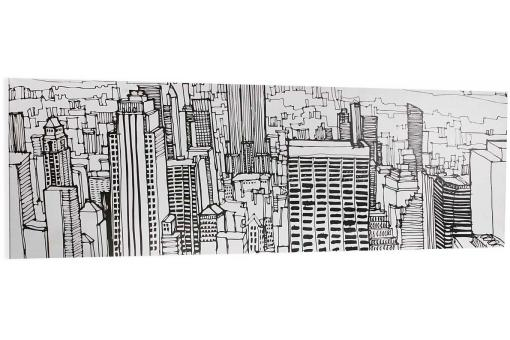 Toile longue croquis ville NY SKYLINE