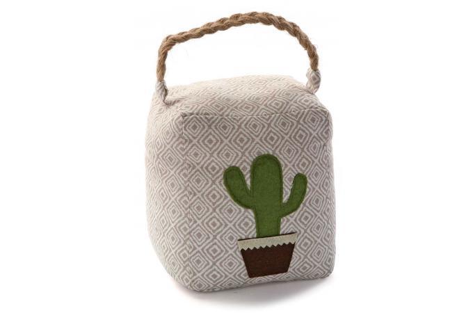 Cale porte carr en tissu impression cactus pourpera tapis classiques pas cher - Cale porte tissu ...
