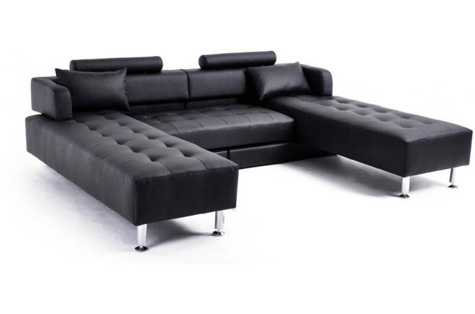 canap d 39 angle r versible modulable noir lago canap d 39 angle pas cher. Black Bedroom Furniture Sets. Home Design Ideas