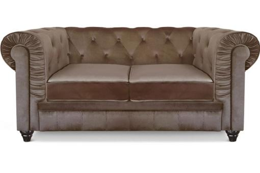 Canapé chesterfield velours capitonné taupe 2 places