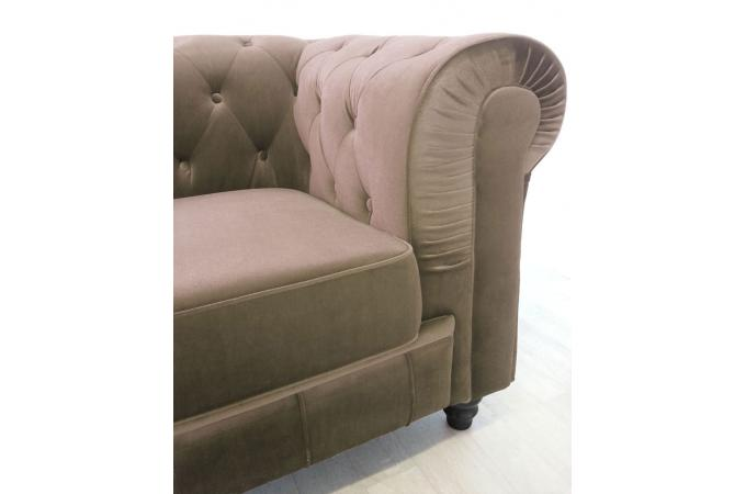 Canape Chesterfield Velours Capitonne Taupe 3 Places Canape 3