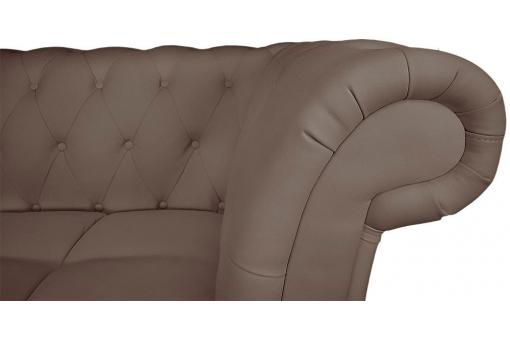 Canapé d'angle Brittish droite Taupe style chesterfield Diana