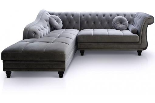 Canapé d'angle Brittish gauche Velours Argent style Chesterfield - Canape d angle design