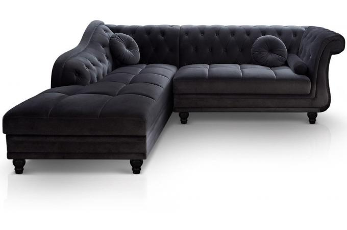 canap d 39 angle brittish gauche velours noir style chesterfield diana canap d 39 angle pas cher. Black Bedroom Furniture Sets. Home Design Ideas