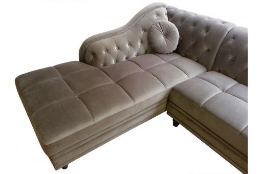 Canapé d'angle British gauche Velours Taupe style Chesterfield Diana