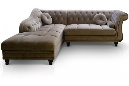Canapé d'angle British gauche Velours Taupe style Chesterfield Diana - Canape d angle design