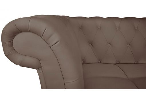 Canapé d'angle Brittish gauche Taupe style chesterfield Diana