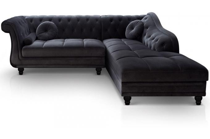 canap d 39 angle brittish droit velours noir style chesterfield diana canap d 39 angle pas cher. Black Bedroom Furniture Sets. Home Design Ideas