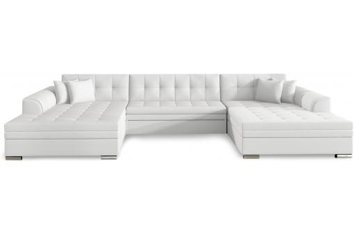 Canapé d'angle convertible en Simili Blanc ICY - Canape d angle design