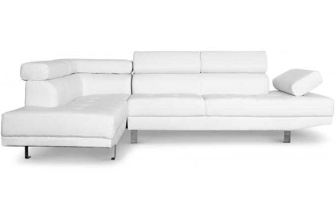 canap d 39 angle droit blanc avec t ti re relevable mildura canap d 39 angle pas cher. Black Bedroom Furniture Sets. Home Design Ideas