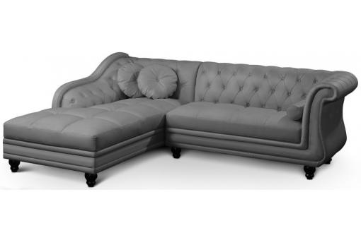 Canapé d'angle gris Chesterfield Diana - Canape d angle design