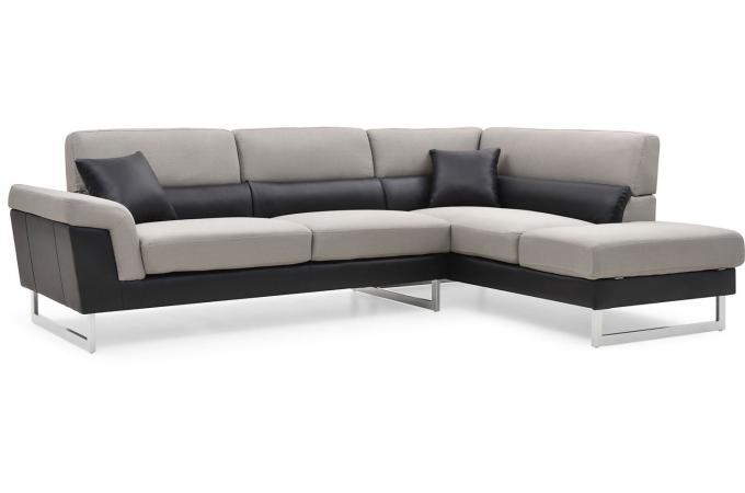 canapé d'angle droit gris et noir tobias - canapé d'angle pas cher