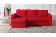 Canapé d'angle convertible 3 places microfibre rouge LIBERECO - Canape convertible tissu