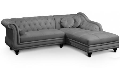 Canapé d'angle droit gris Chesterfield Diana