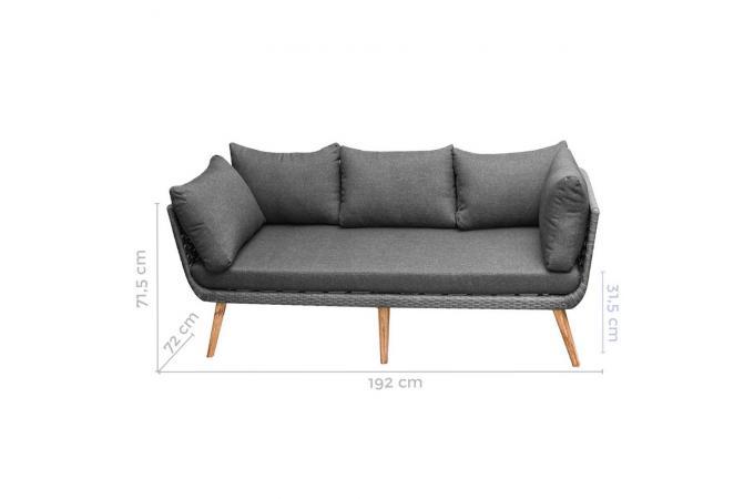 canap de jardin 3 places gris alda fauteuil et chaise. Black Bedroom Furniture Sets. Home Design Ideas