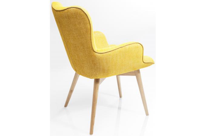 Assez Chaise avec accoudoirs retro hêtre moutarde - Chaise Design Pas Cher ZH44