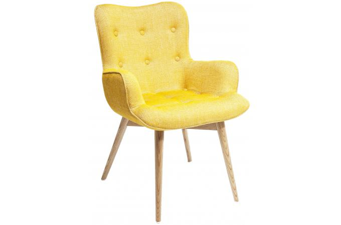 Chaise Avec Accoudoirs Retro Htre Moutarde