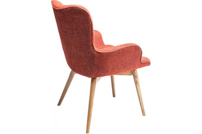 chaise avec accoudoirs retro hêtre rouge - fauteuil design pas cher - Chaise Fauteuil Avec Accoudoir