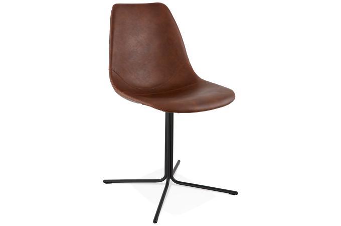Chaise avec coque marron myriam chaise design pas cher - Chaise en cuir marron ...