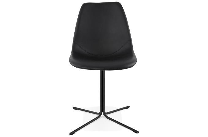 Chaise avec coque en simili noir trocin chaise design for Chaise coque pas cher