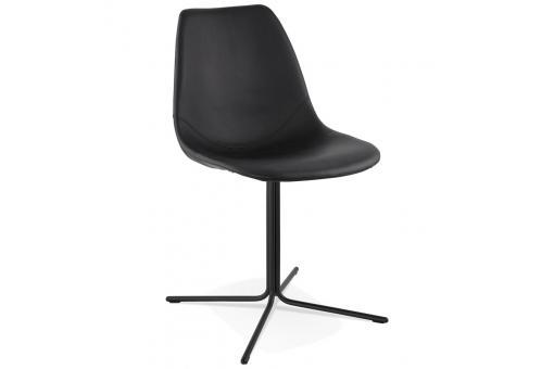 chaise avec coque en simili noir trocin chaise design pas cher. Black Bedroom Furniture Sets. Home Design Ideas