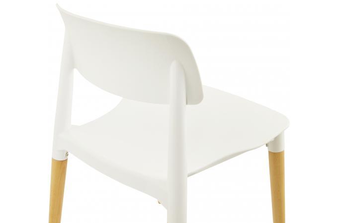 chaise design blanche pied bois. Black Bedroom Furniture Sets. Home Design Ideas