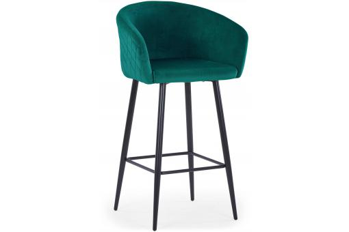 Chaise de bar Velours Vert ADONIS - Tabouret de bar design